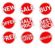 Etiquetas engomadas de la tasación promocional en un círculo rojo Fotos de archivo