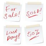 Etiquetas engomadas de la venta Foto de archivo