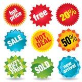 Etiquetas engomadas de la venta   Imagen de archivo libre de regalías
