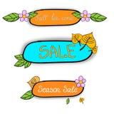 Etiquetas engomadas de la venta de la estación Imagen de archivo libre de regalías