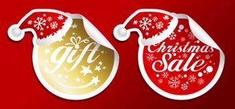 Etiquetas engomadas de la venta de la Navidad. ilustración del vector