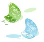 Etiquetas engomadas de la venta de la oferta y del invierno de la primavera Imagen de archivo libre de regalías