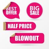 Etiquetas engomadas de la venta fijadas Estilo rosado moderno Ilustración del vector Foto de archivo