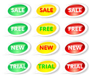 Etiquetas engomadas de la venta, libres, nuevas y de ensayo Imagen de archivo libre de regalías