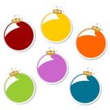 Etiquetas engomadas de las bolas de la Navidad Fotografía de archivo