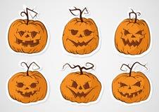 Etiquetas engomadas de las calabazas de Halloween Imagen de archivo libre de regalías