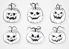 Etiquetas engomadas de las calabazas de Halloween Imagen de archivo