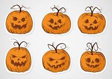 Etiquetas engomadas de las calabazas de Halloween Fotos de archivo libres de regalías
