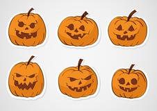 Etiquetas engomadas de las calabazas de Halloween Imágenes de archivo libres de regalías