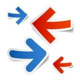 Etiquetas engomadas de las flechas Imágenes de archivo libres de regalías
