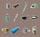 Etiquetas engomadas de las herramientas que acampan Fotografía de archivo libre de regalías