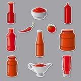 Etiquetas engomadas de las salsas de tomate y de las salsas Foto de archivo libre de regalías