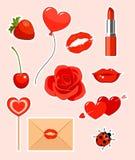 Etiquetas engomadas de las tarjetas del día de San Valentín Fotografía de archivo
