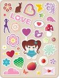 Etiquetas engomadas de las tarjetas del día de San Valentín Foto de archivo