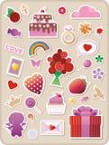 Etiquetas engomadas de las tarjetas del día de San Valentín Imagenes de archivo