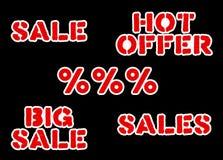 Etiquetas engomadas de las ventas fijadas Imagen de archivo libre de regalías