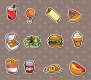 Etiquetas engomadas de los alimentos de preparación rápida Fotografía de archivo libre de regalías