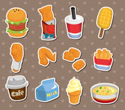 Etiquetas engomadas de los alimentos de preparación rápida Imagenes de archivo