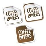 Etiquetas engomadas de los amantes del café Fotos de archivo libres de regalías