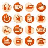 Etiquetas engomadas de los aparatos electrodomésticos Foto de archivo