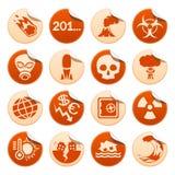 Etiquetas engomadas de los desastres apocalípticos y naturales Imágenes de archivo libres de regalías