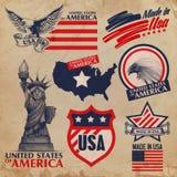 Etiquetas engomadas de los E.E.U.U. Imagen de archivo