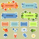 Etiquetas engomadas de los elementos del libro de recuerdos cuatro estaciones Fotos de archivo libres de regalías