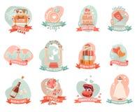 Etiquetas engomadas de los emblemas del compromiso de la boda de la boda fijadas Imagenes de archivo