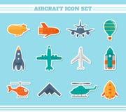 Etiquetas engomadas de los iconos de los aviones stock de ilustración