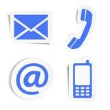 Etiquetas engomadas de los iconos del contacto del sitio web Imágenes de archivo libres de regalías