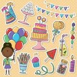 Etiquetas engomadas de los iconos del cumpleaños fijadas Foto de archivo libre de regalías
