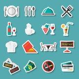 Etiquetas engomadas de los iconos del restaurante Foto de archivo libre de regalías