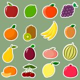 Etiquetas engomadas de los iconos de la fruta con un esquema blanco, en un sistema en un fondo verde Foto de archivo