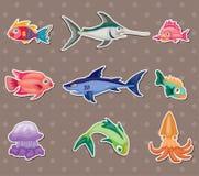 Etiquetas engomadas de los pescados stock de ilustración