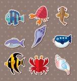 Etiquetas engomadas de los pescados de la historieta Fotografía de archivo