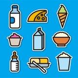 Etiquetas engomadas de los productos lácteos Foto de archivo libre de regalías