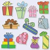 Etiquetas engomadas de los regalos Stock de ilustración