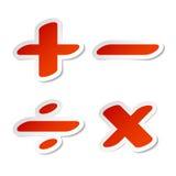 Etiquetas engomadas de los símbolos de la matemáticas Fotografía de archivo libre de regalías