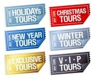 Etiquetas engomadas de los viajes de los días de fiesta en la forma de boletos. Fotografía de archivo libre de regalías