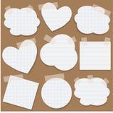 Etiquetas engomadas de papel con la cinta escocesa Imágenes de archivo libres de regalías