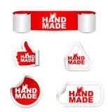 Etiquetas engomadas de papel determinadas del rojo hechas a mano Imagenes de archivo