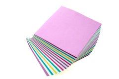 Etiquetas engomadas de papel multicoloras aisladas Foto de archivo libre de regalías