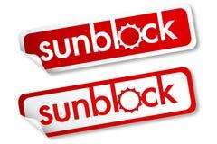 Etiquetas engomadas de Sunblock Imagen de archivo