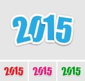 Etiquetas engomadas del Año Nuevo 2015 Imágenes de archivo libres de regalías