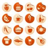 Etiquetas engomadas del alimento y de la bebida Fotografía de archivo libre de regalías