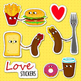 Etiquetas engomadas del amor de los alimentos de preparación rápida Imagen de archivo