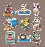 Etiquetas engomadas del animal del verano stock de ilustración