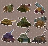 Etiquetas engomadas del arma del tanque/del cañón de la historieta Imagen de archivo libre de regalías