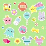 Etiquetas engomadas del bebé Niños, elementos del diseño de los niños para el libro de recuerdos Iconos decorativos del vector co stock de ilustración