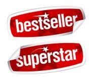 Etiquetas engomadas del bestseller y de la superestrella. stock de ilustración
